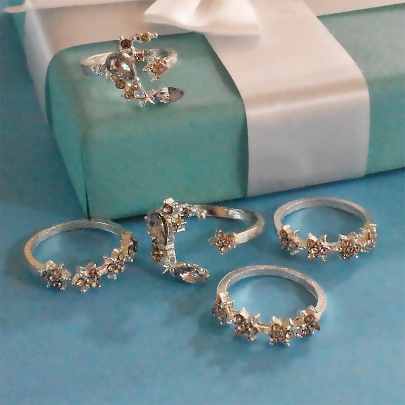 Paris Set of Rings - Dainty Silver Stone Studded Ring Stacks