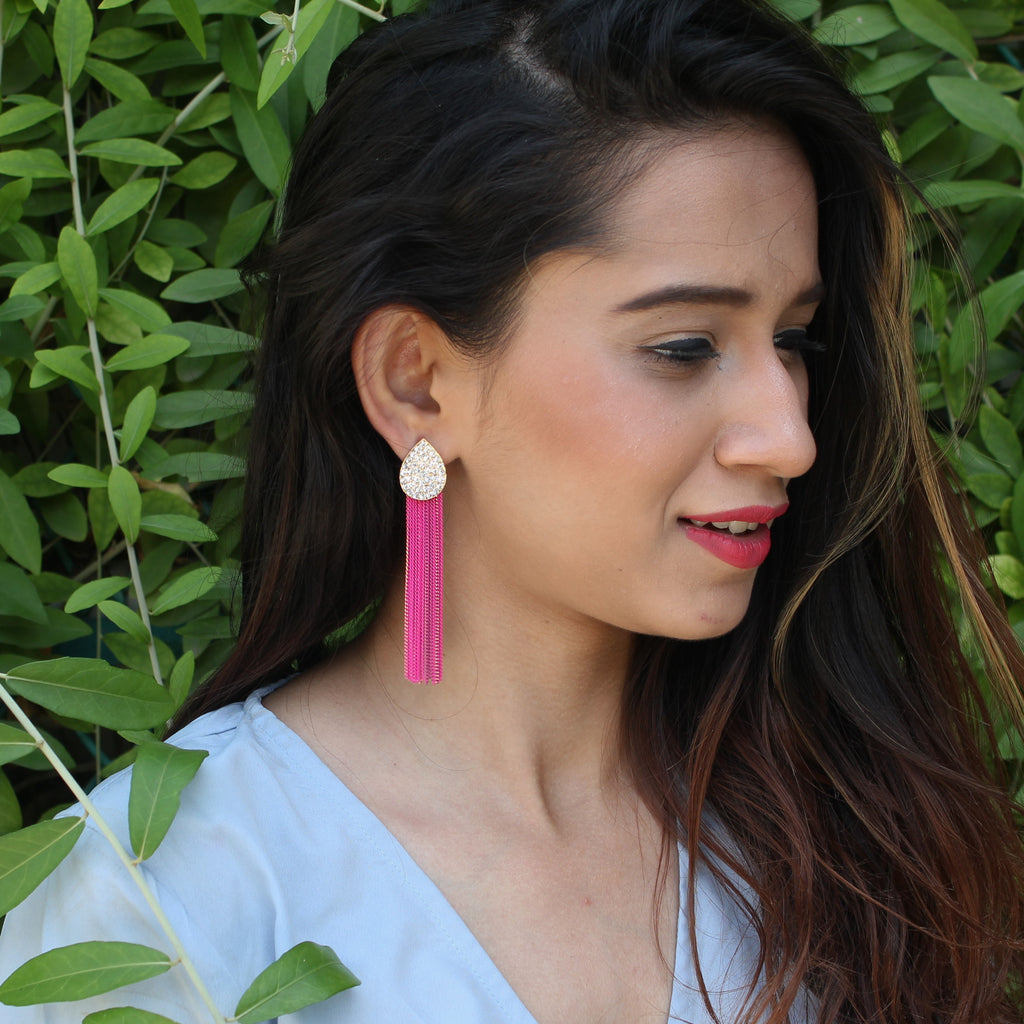 Parisienne - Studded Earrings With Pink Metal Chain Tassels