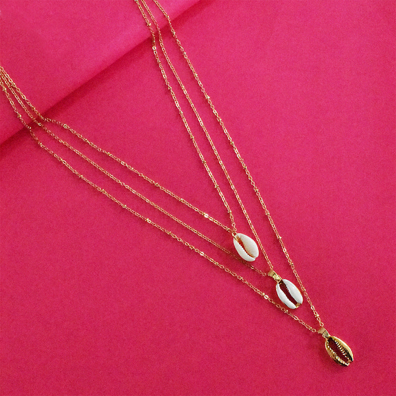 Penny Layered Necklace - Golden Metal Layered Necklace with Tiny Charms