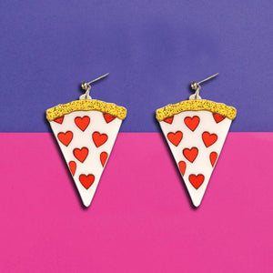 Pizza My Heart - Acrylic Funky Pizza Earrings