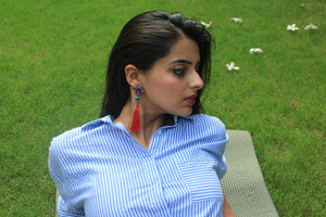 Ashwini's Plume & Feather - Scarlet - Multicoloured Stone and Red Tassel Earrings