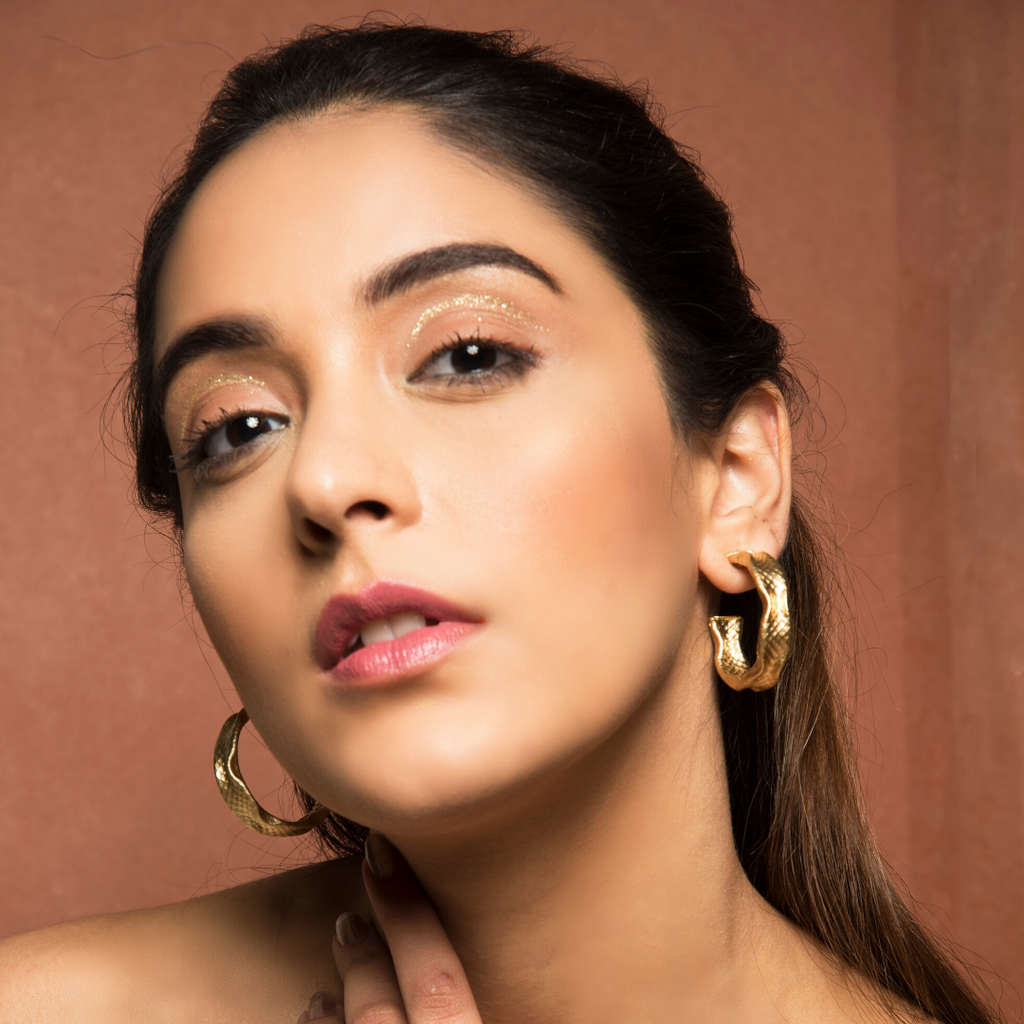 Poseidon - Golden Textured Open Hoop Earrings