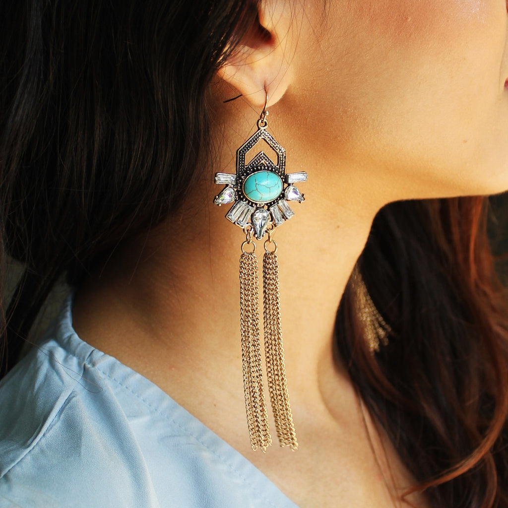 Prism Blue - Stone Earrings With Metal Tassel