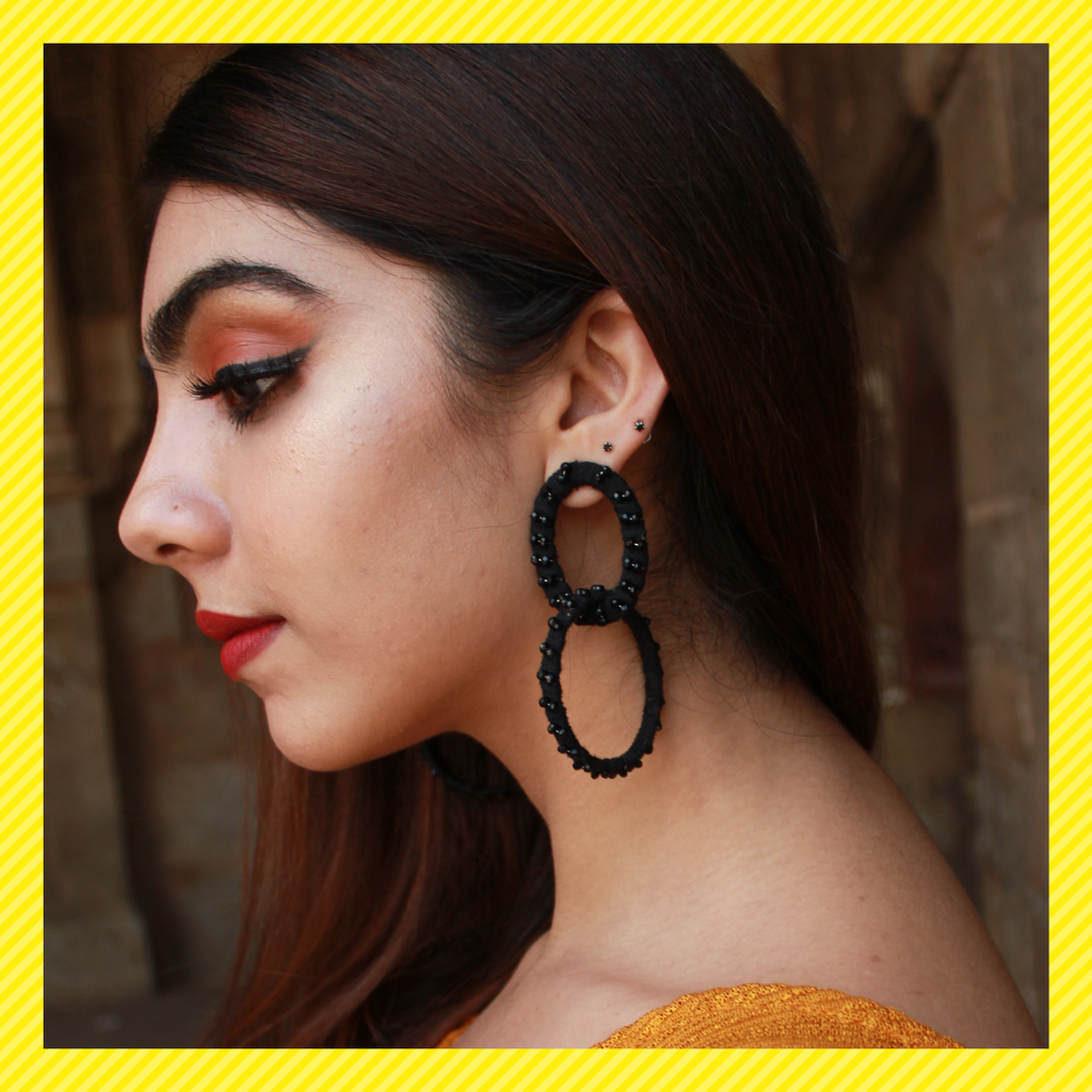 Ring-a-Ring- Black - Interlinked Thread Fabric Hoops With Tiny Stones