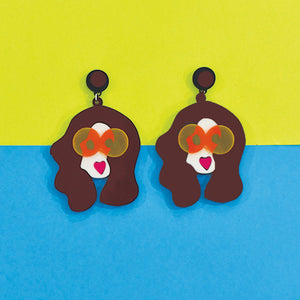 Rachel Retrogram- Brown - Multicoloured Face Acrylic Earrings