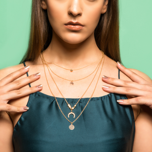 Rachel Greene Layered Necklace - Dainty Golden Metal Layered Necklace with Tiny Charms
