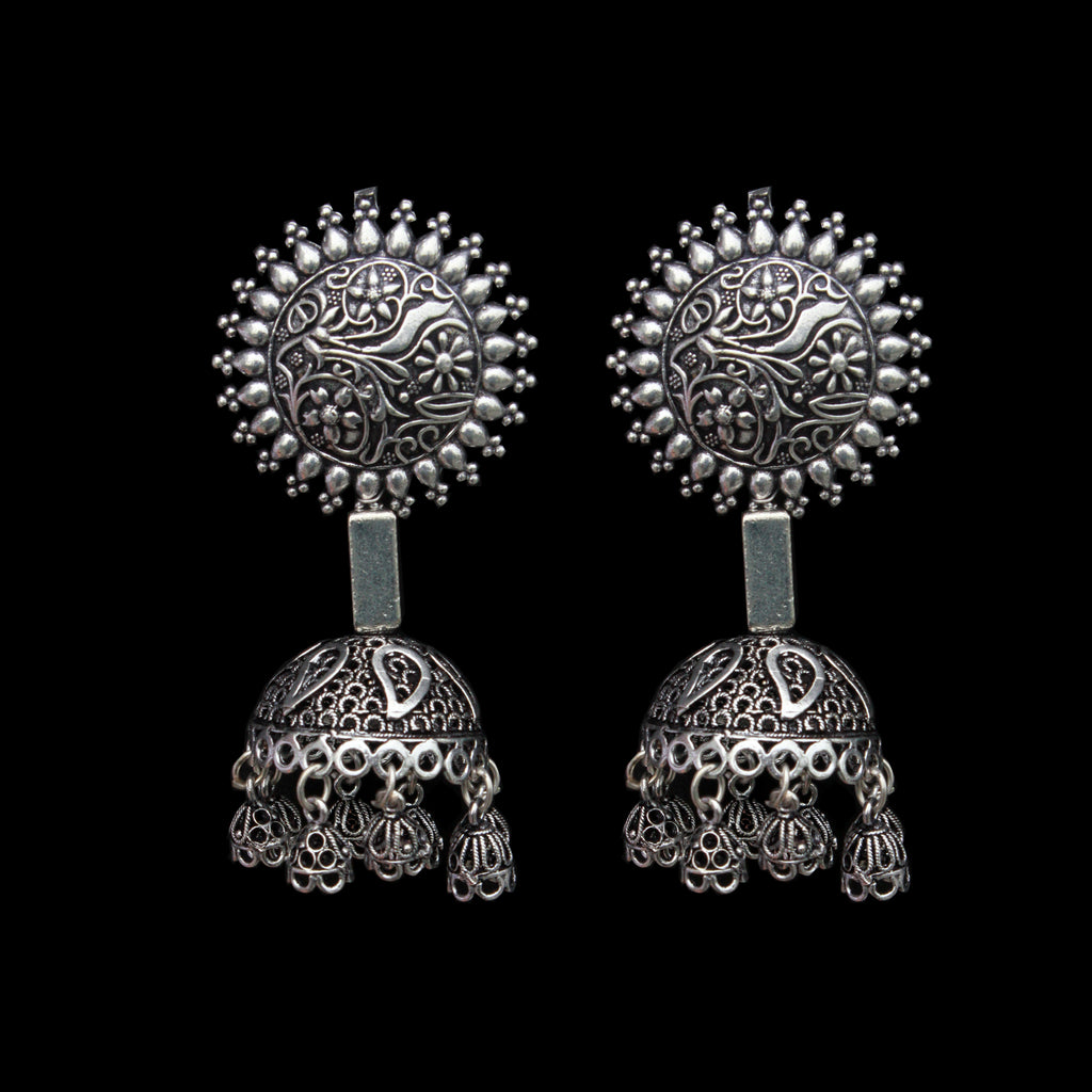 Ragini Earrings - German Silver Floral Leaves Dangle Jhumkas