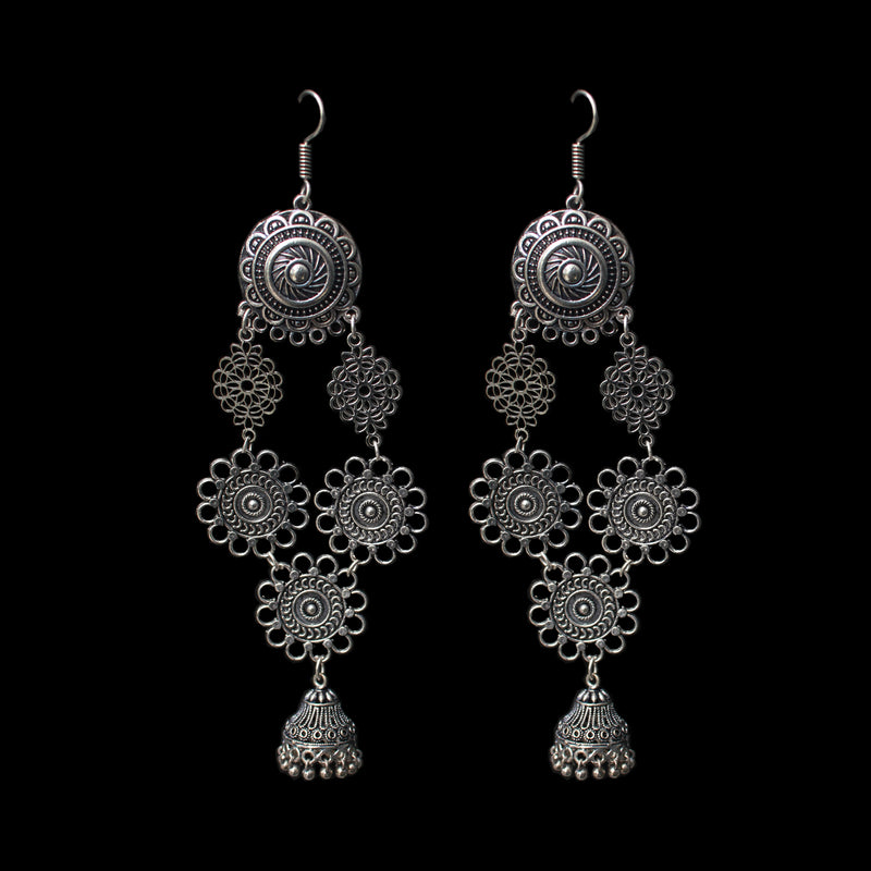 Ramya Earrings - Long German Silver Hook Earrings