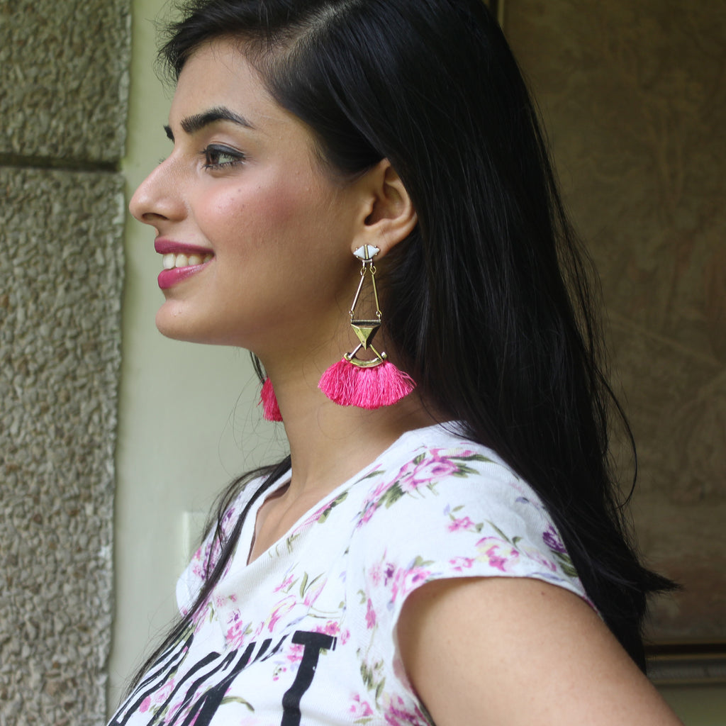 Refuse to Sink - Pink - Tassel Earrings