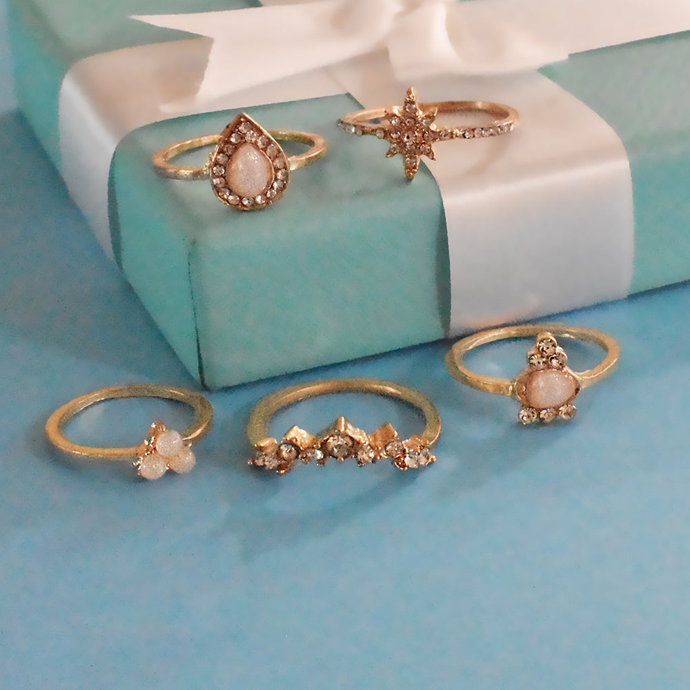 Rio Set of Rings - Golden Stone Ring Set