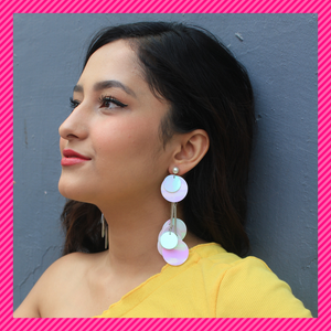 Sequin Discs- White - Earrings
