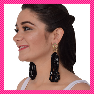 Sequin Strands- Black - Long Interlinked Sequin Dangle Earrings