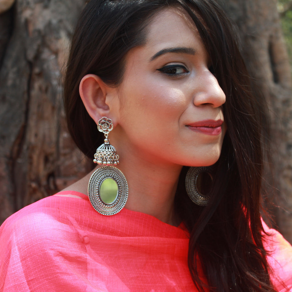 Saira - Silver Mirror Jhumka Earrings