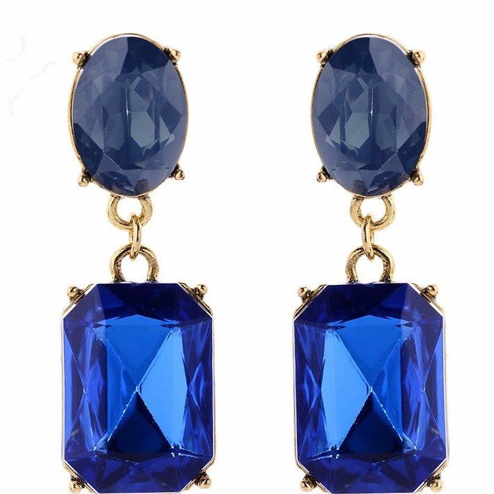 Sapphire Drops - Blue Crystal Drop Earrings