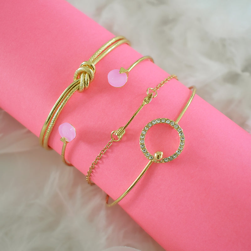 Scarlett Bracelet Stack - Golden Studded Bracelet Set