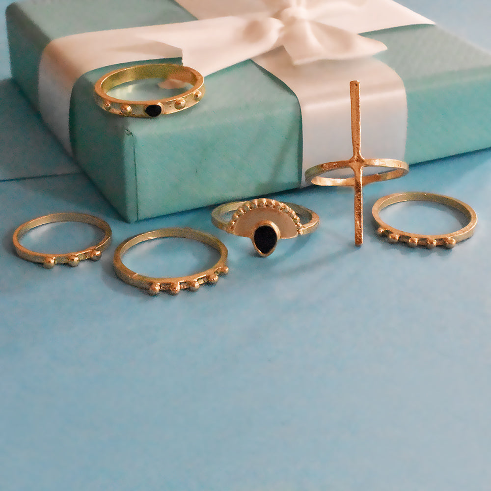 Seville Set of Rings - Golden Studded and Stone Ring Sets