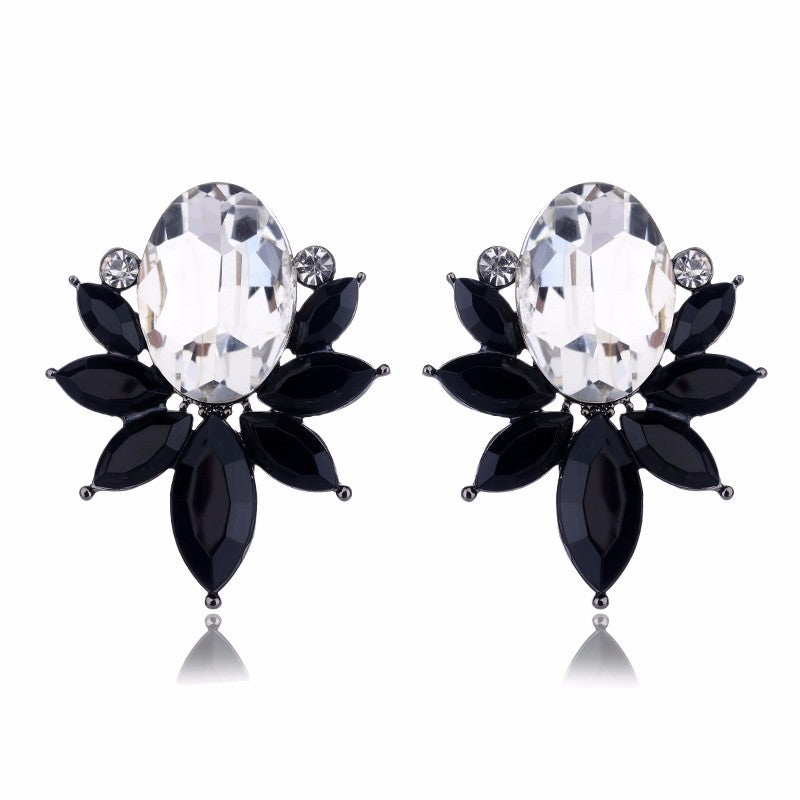 Something Fishy - Black - Delicate Crystal Floral Earrings