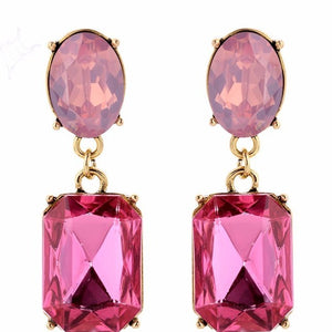 Strawberry Drops - Pink Crystal Drop Earrings