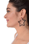 Superstar - Black - Metal Star Earrings