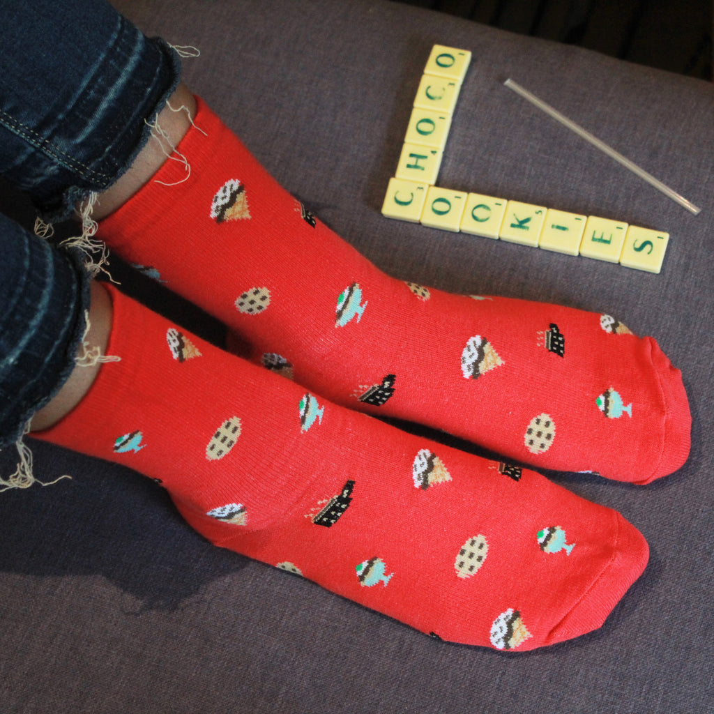 Sweet Indulgence - printed above ankle length socks