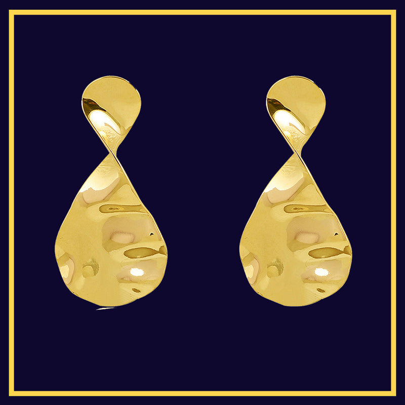 Twist & Drop - Golden Metal Earrings