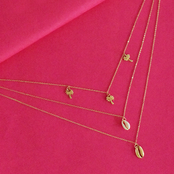 Veronica Layered Necklace - Golden Dainty Metal Layered Necklace with Tiny Charms