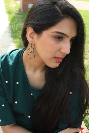 Wiggles - Green - Metal Asymmetrical Earrings