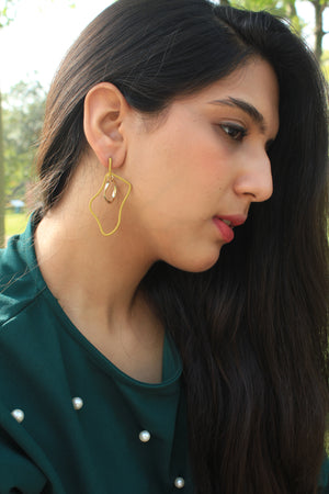 Wiggles - Mustard - Metal Asymmetrical Earrings