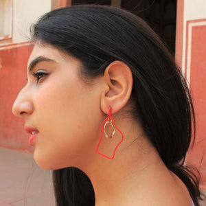 Wiggles - Red - Quirky Metal Asymmetrical Earrings