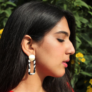 Wild Child - Monochrome - Black And White Rectangular Earrings