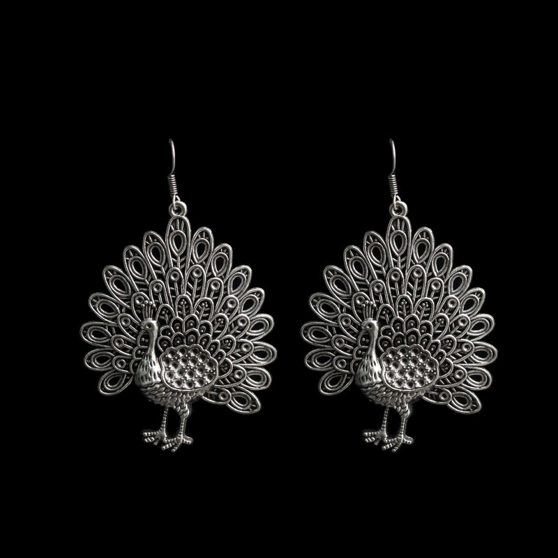 Zenia Earrings - Peacock German Silver Hook Earrings