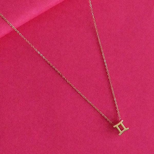 Gemini Zodiac Necklace - Golden Metal Charm Dainty Necklace