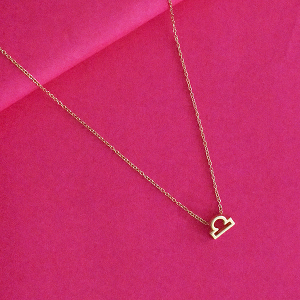 Libra Zodiac Necklace - Golden Metal Charm Dainty Necklace