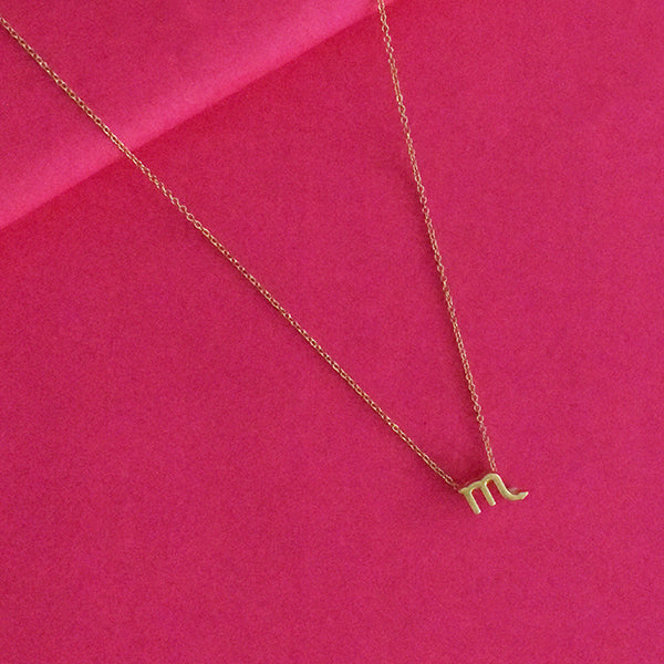 Scorpio Zodiac Necklace - Golden Metal Charm Dainty Necklace