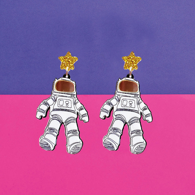 Mr. Astronaut - Cute Funky Astronaut Space Earrings