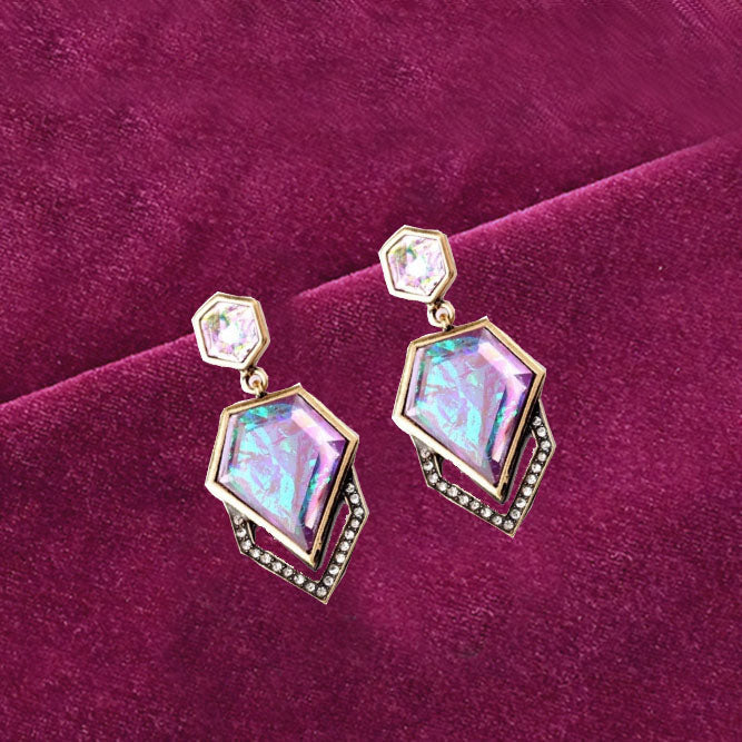 Audrey - Holographic Pentagonal Stud Earrings