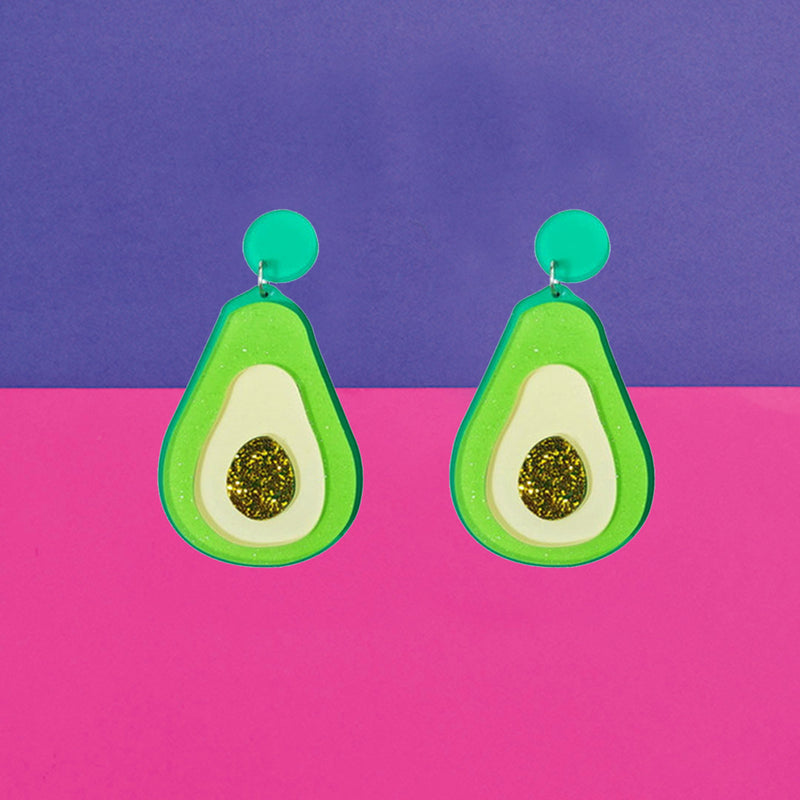 Avacado Earrings - Acrylic Fun Green Avacado Earrings