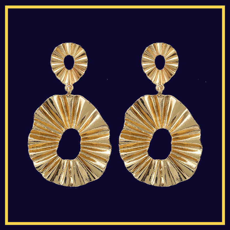 Blazing Sun - Golden Wrinkled Metal Hoop Earrings