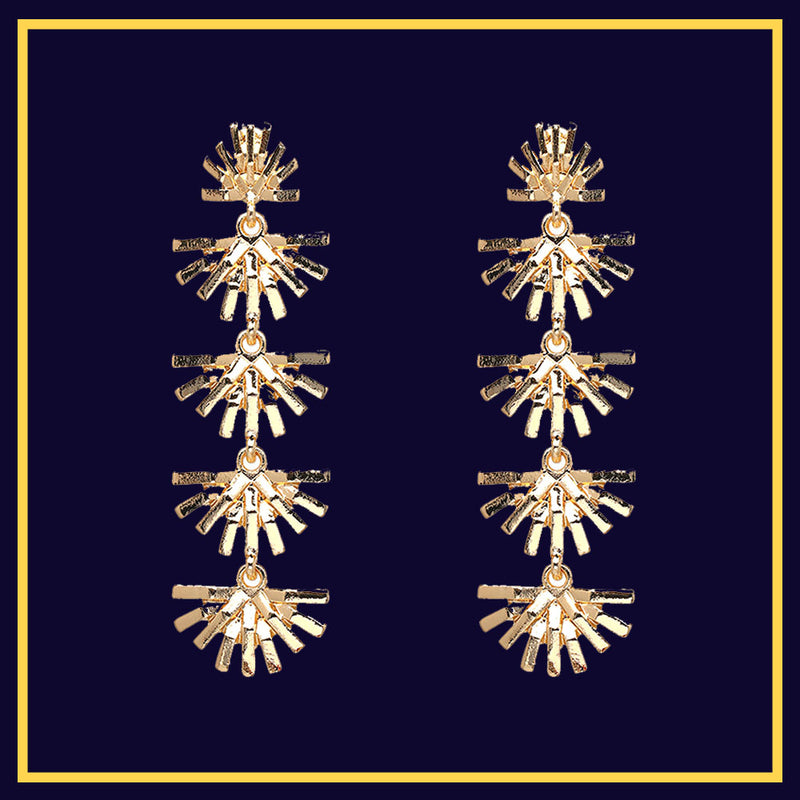 Gold Leafy Danglers - Golden Multiple Leaf Dainty Earrings