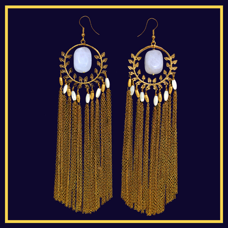 Dewy Drops of Venus - Long Golden Metal Tassel Earrings With Stone
