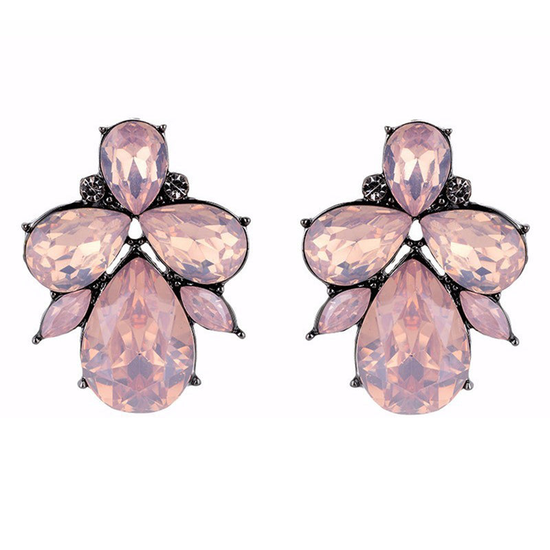 Eleganza - Rose - Intricate Delicate Stone Crystal Stud Earrings