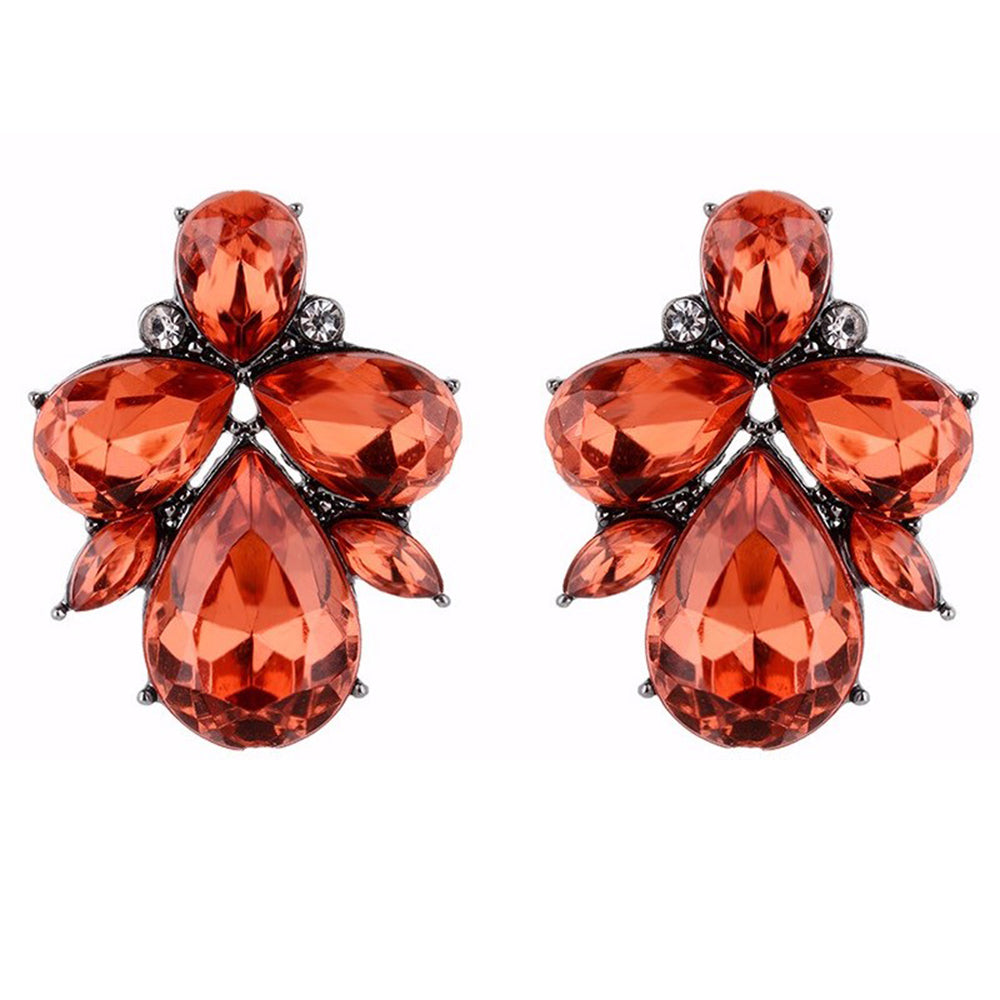Eleganza - Red - Intricate Delicate Stone Crystal Stud Earrings