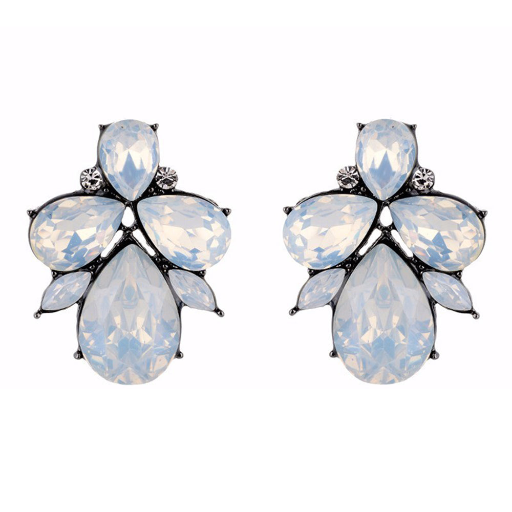 Eleganza - Opal - Intricate Delicate Stone Crystal Stud Earrings