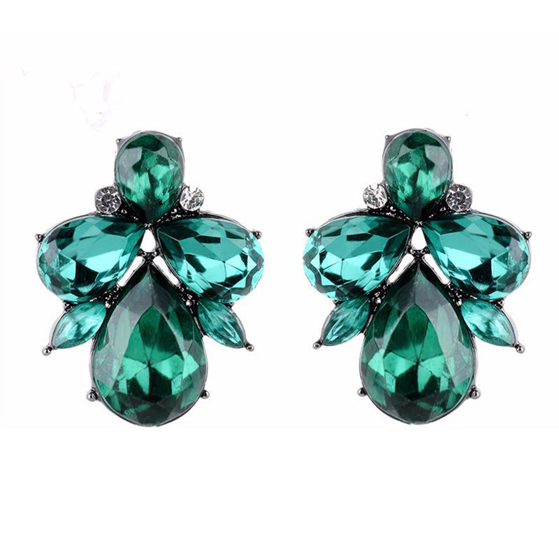 Eleganza - Green - Intricate Delicate Stone Crystal Stud Earrings