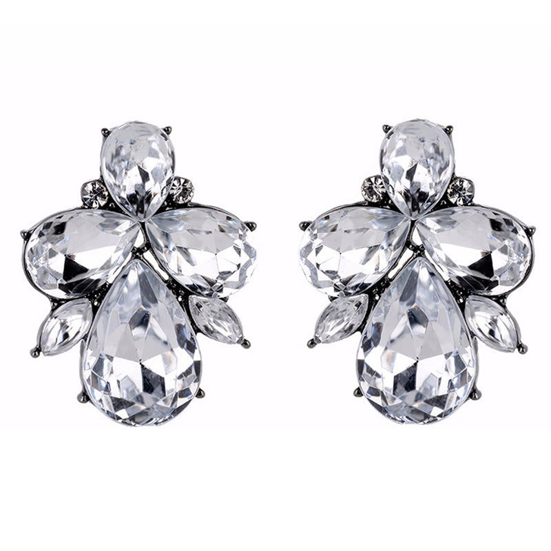 Eleganza - Crystal - Intricate Delicate Stone Crystal Stud Earrings