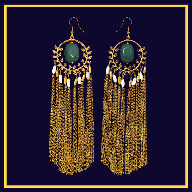 Emerald Drops of Venus - Metal Tassel Earrings
