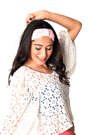 Pink Wink Looped Headband - White and Pink Turban Hairband