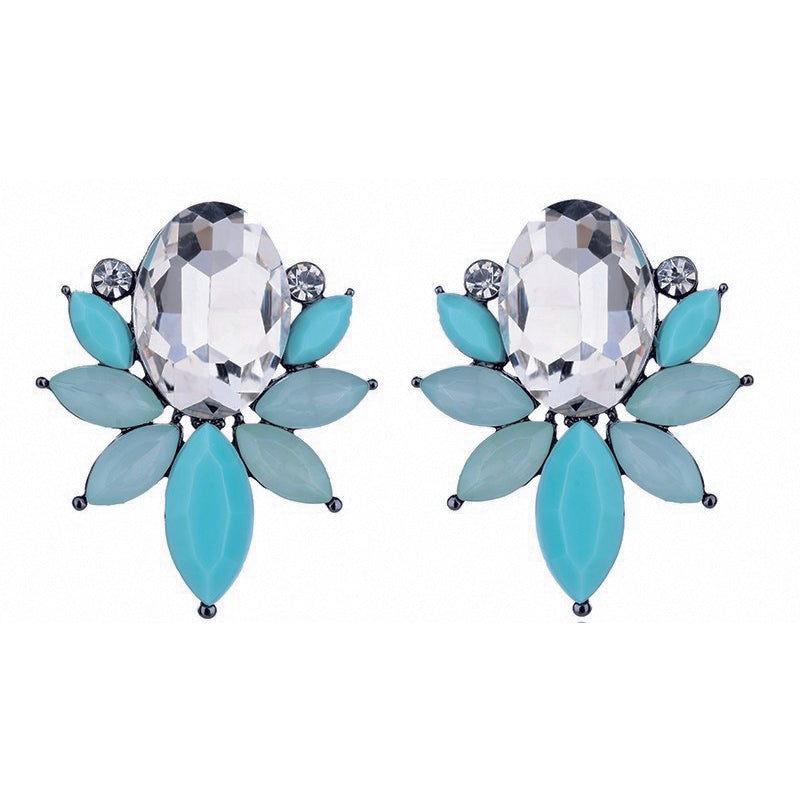 Something Fishy - Aqua - Delicate Crystal Floral Earrings