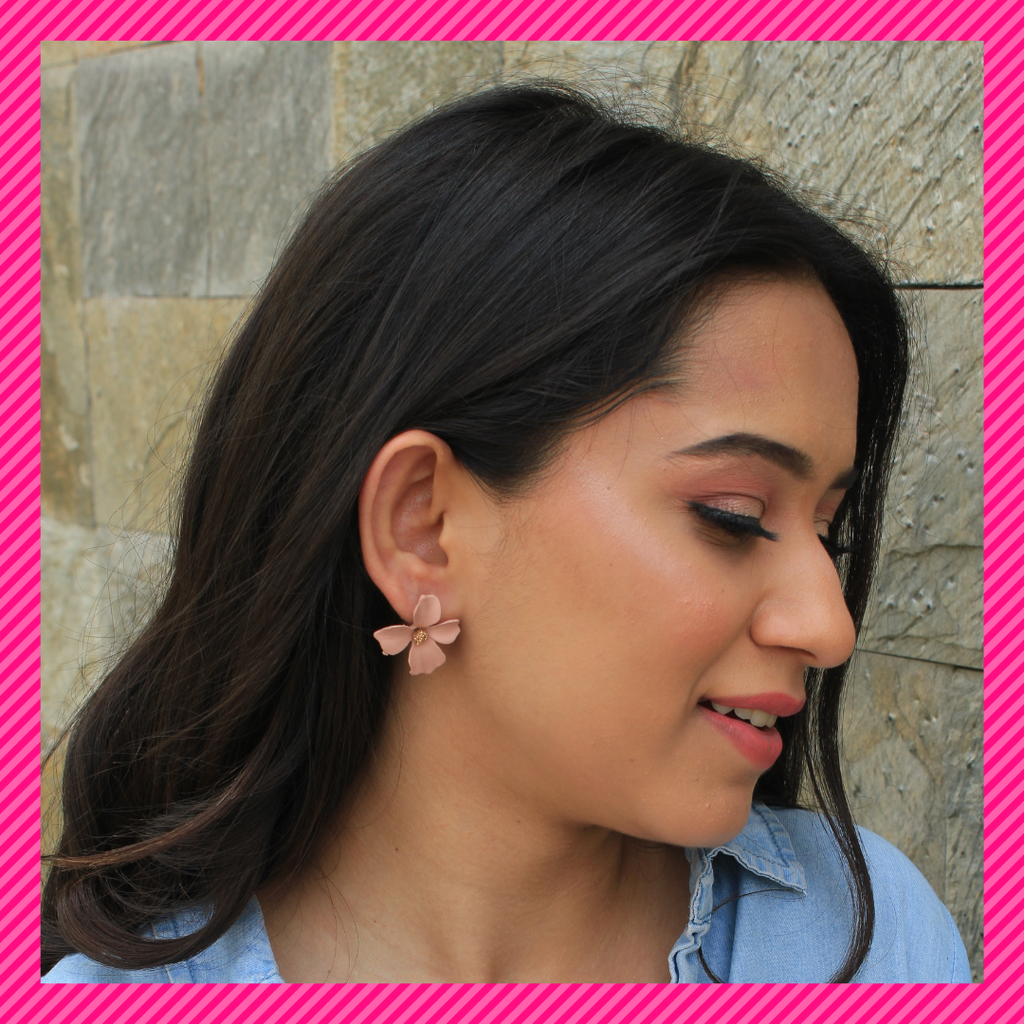 Floralina- Dust Pink - Dainty Metal Floral Earrings