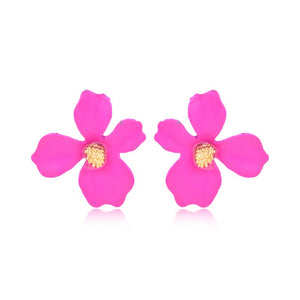 Floralina- Fuschia - Dainty Metal Floral Earrings